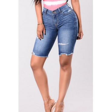 Lovely Trendy High Waist Rough Selvedge Deep Blue Denim Zipped Shorts