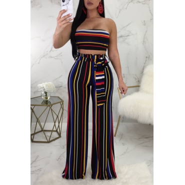 Lovely Sexy Bateau Neck Striped Black Qmilch Two-Piece Pants Set(With Belt)