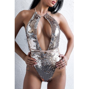 Lovely Sexy Backless Lace-up Sequins Silver Polyester One-piece Swimwears