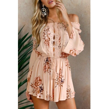 Lovely Trendy Bateau Neck Floral Printed Beige Polyester One-piece Short Jumpsuits