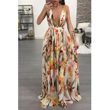 Lovely Sexy V Neck Printed Yellow Chiffon Floor length Dress