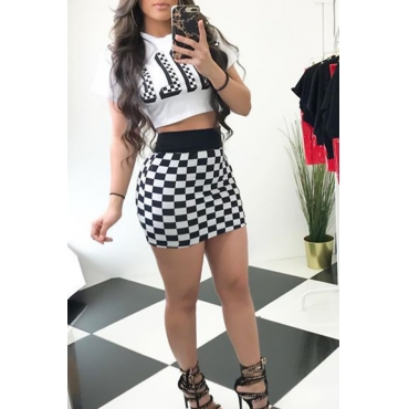 Lovely Casual Round Neck Plaid Printed White Qmilch Two-piece Skirt Set