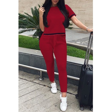 Lovely Fashion Round Neck Patchwork Wine Red Polyester Two-Piece Pants Set