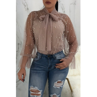 Lovely Fashion Turtleneck See-Through Nailed Pearl Bow Tie Khaki Polyester Shirts(Without Subcoating)