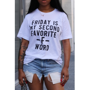 Lovely Casual Round Neck Letter Printed White Polyester T-shirt