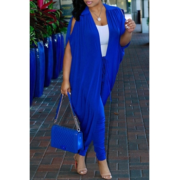 Lovely Sexy V Neck Batwing Sleeves Lace-up Blue Polyester Two-Piece Pants Set(Without Subcoating)