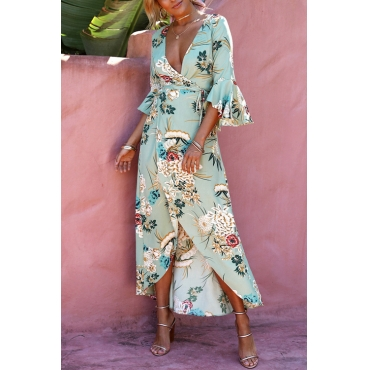 Lovely Fashion V Neck Flared Sleeves Non Positioning Floral Printed Light Green Blending Mid Calf Dress
