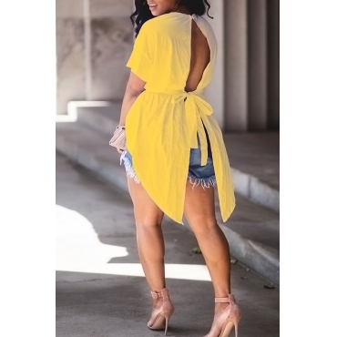 Lovely Trendy Round Neck Irregular Design Drawstring Yellow Cotton Shirts