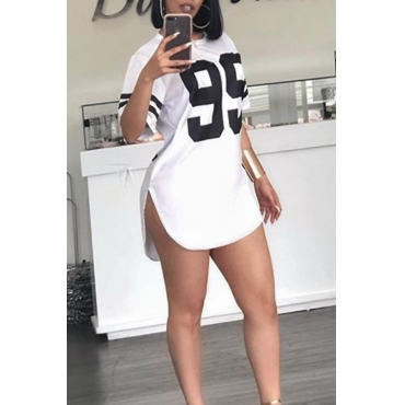 Lovely Sexy Round Neck Digital Printed Irregular White Polyester Mini Dress