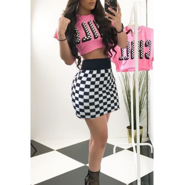 Lovely Casual Round Neck Plaid Printed Pink Qmilch Two-piece Skirt Set