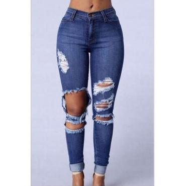 Lovely Trendy Mid Waist Broken Holes Blue Denim Zipped Jeans