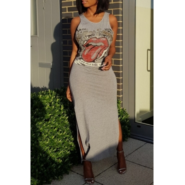 Lovely Casual Round Neck Cartoon Printed Side Slit Grey Cotton Blend Ankle Length Dress