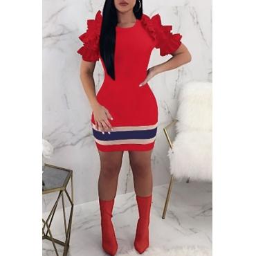 Lovely Fashion Round Neck Ruffle Striped Red Cotton Blend Sheath Mini Dress