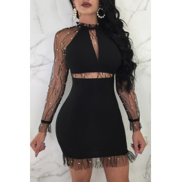 Lovely Sexy Yarn Splicing Black Polyester Mini Dress