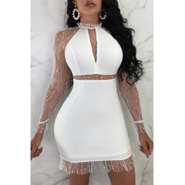 Lovely Sexy Yarn Splicing White Polyester Mini Dress