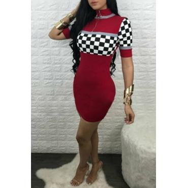 LovelyLeisure Grid Splicing Wine Red Cotton Blend Sheath Mini Dress