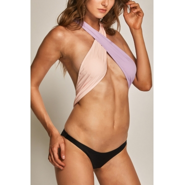 Lovely Euramerican Cross Contrast Color Patchwork Spandex One-piece Swimwears