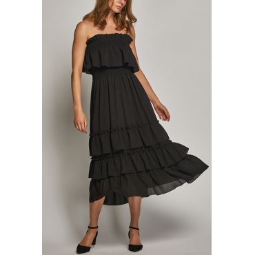 Lovely Cute Bateau Neck Layered Flounce Black Rayon Two-piece Skirt Set
