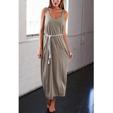 Lovely Casual U Neck Backless Khaki Polyester Ankle Length Dress(Without Belt)
