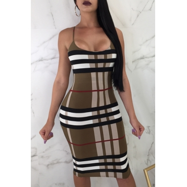 Lovely Fashion U Neck Striped Printed Coffee Blending Knee Length Dress