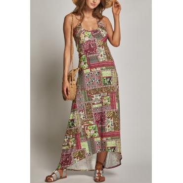 Lovely Vintage U Neck Irregular Hem Printed Cotton Blend Floor Length Dress