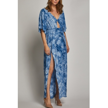 Lovely Bohemian V Neck Side Slit Hollow-out Printing Blue Cotton Blend Mid Calf Dress