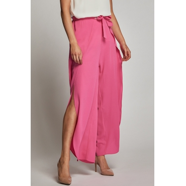 Lovely Trendy High Elastic Waist Bandage Side Slit Rose Red Rayon Pants