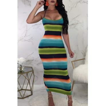Lovely Sexy Spaghetti Strap Sleeveless Striped Cotton Blend Ankle Length Dress