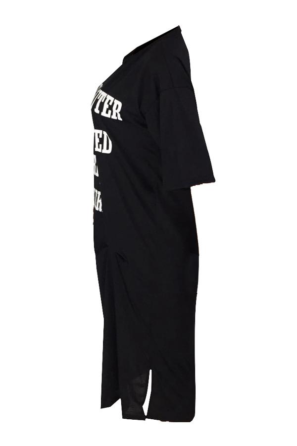 Cuello Redondo Encantador Informal Letras Impresas Vestido De Longitud De Tobillo Mezcla De Algodón Negro