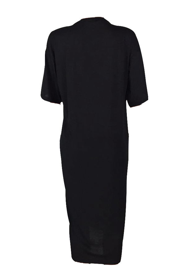 Lovely Casual Round Neck Letters Printed Black Cotton Blend Ankle Length Dress