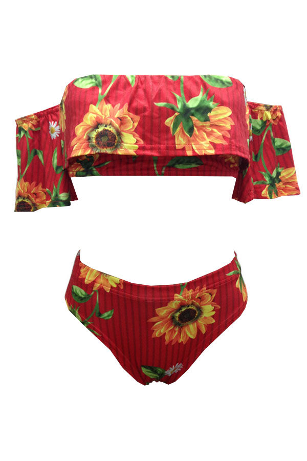 Lovely Pretty Bateau Neck Floral Printed Striped Red Polyester Two-piece Swimwears