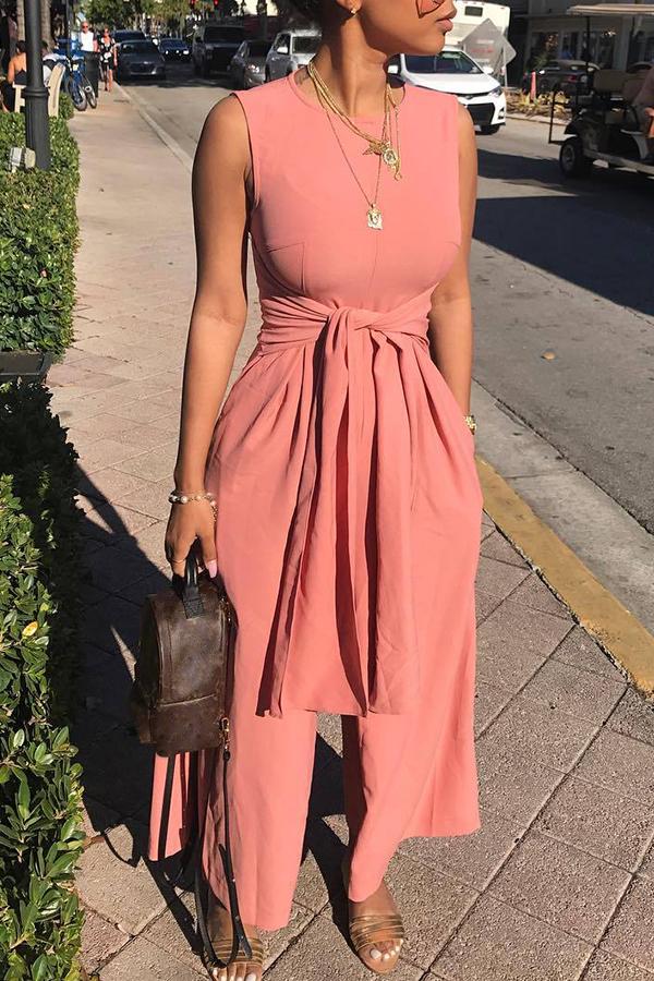 Симпатичный Модный Круглая Шея Повязка Розовый Полиэстер Цельные Комбинезоны