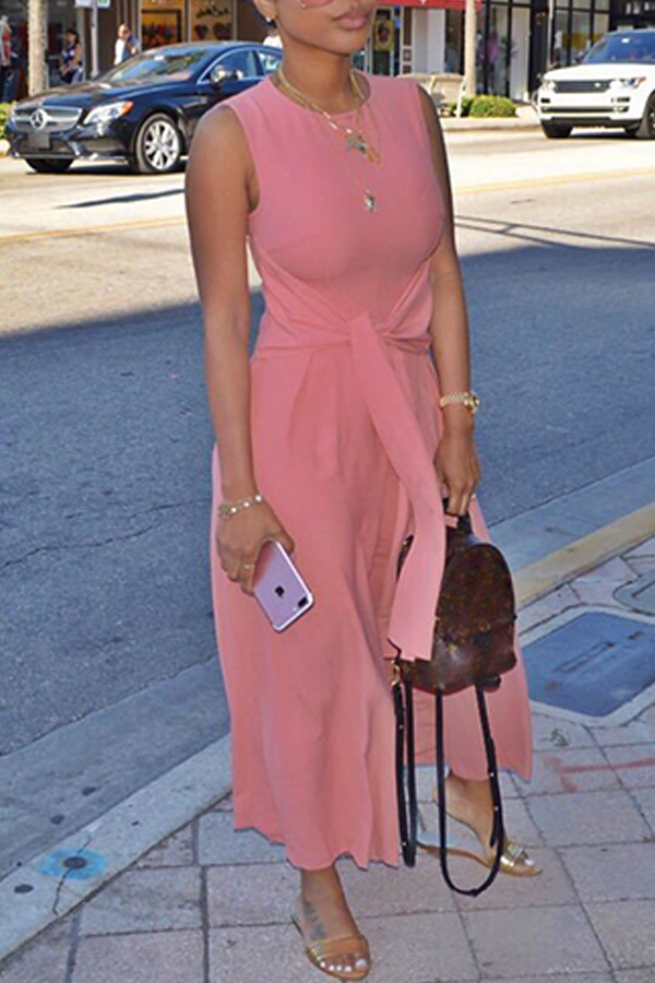 Lovely Trendy Round Neck Bandage Pink Polyester One-piece Jumpsuits
