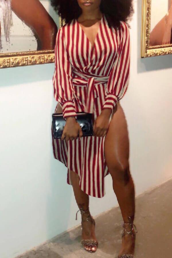 Lovely Fashion V Neck Striped Side Slit Red Cotton Mid Calf Dress(With Belt)
