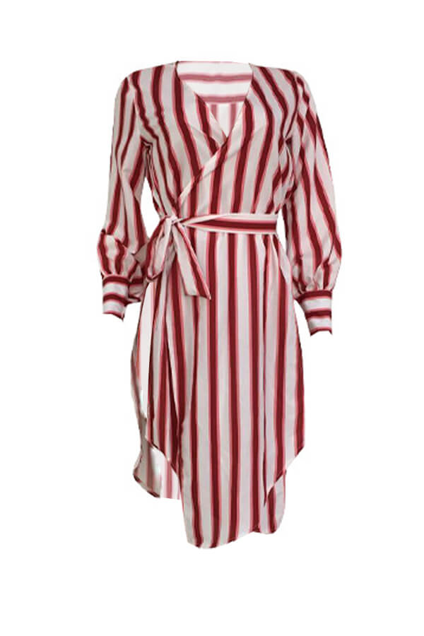 Lovely Fashion V Neck Striped Side Slit Red Cotton Mid Calf Dress(With Belt)
