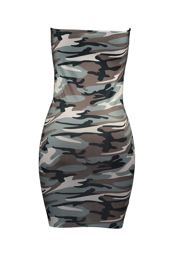 Lovely Fashion Bateau Neck Camouflage Printed Grey Polyester Mini Dress