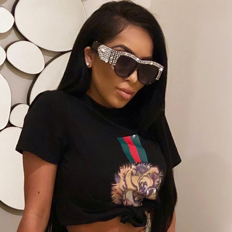 Lovely Trendy Diamante Decorative Black PC Sunglasses