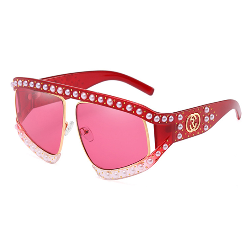 Lovely Fashion Pearl Trim Big Frame Design Red PC Sunglasses