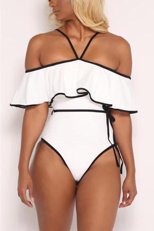 LovelySexy Dew Shoulder Falbala Design White Polyester One-piece Swimwear
