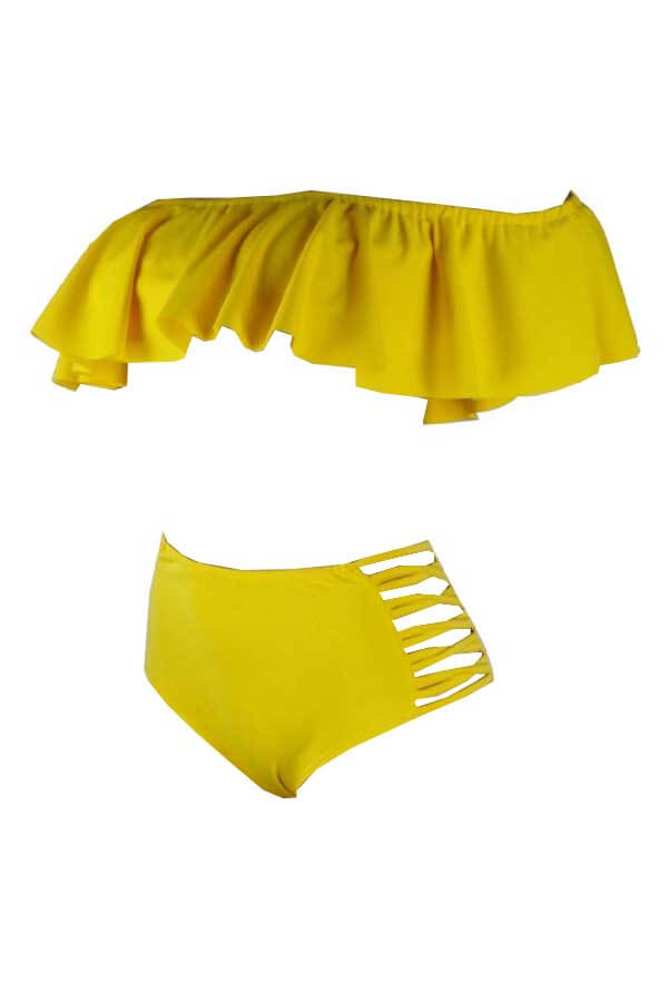 Lovely Pretty Bateau Neck Flounce Yellow  Two-piece Swimwear