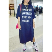 Lovely Casual Round Neck Letters Printed Blue Cotton Blend Ankle Length Dress