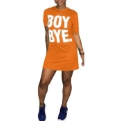 Lovely Casual Round Neck Short Sleeves Letters Printed Orange Fiber Mini Dress