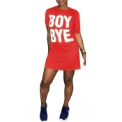 Lovely Casual Round Neck Short Sleeves Letters Printed Red Fiber Mini Dress