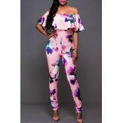 Lovely Sexy Bateau Neck Flounce Floral Printed Pink Qmilch One-piece Jumpsuits