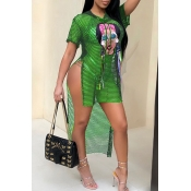 Encantador Sexy Con Capucha De Cuello Hueco Personaje Impreso Camiseta De Poliéster Verde (sin Recubrimiento)