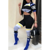 Lovely Trendy Round Neck Striped+Letters Printed Blue Polyester Two-piece Pants Set