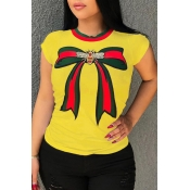 Lovely Pretty Round Neck Bow Printed Yellow Cotton Blends T-shirt