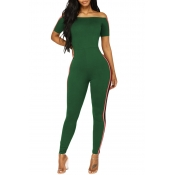 Lovely Trendy Bateau Neck Patchwork Army Green Polyester One-piece Jumpsuits