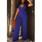 Lovely Elegant V Neck SleeveLess Royalblue Polyester One-piece Jumpsuits(With Belt)