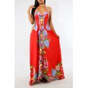 Lovely Bohemian V Neck Floral Printed Red Milk Fiber Floor Length Dress